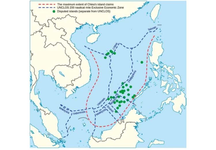 """แผนที่ """"เส้นประ ๙ เส้น"""" (nine-dash-line) ต้นกำเนิดควมขัดแย้ง ในทะเลจีนใต้"""