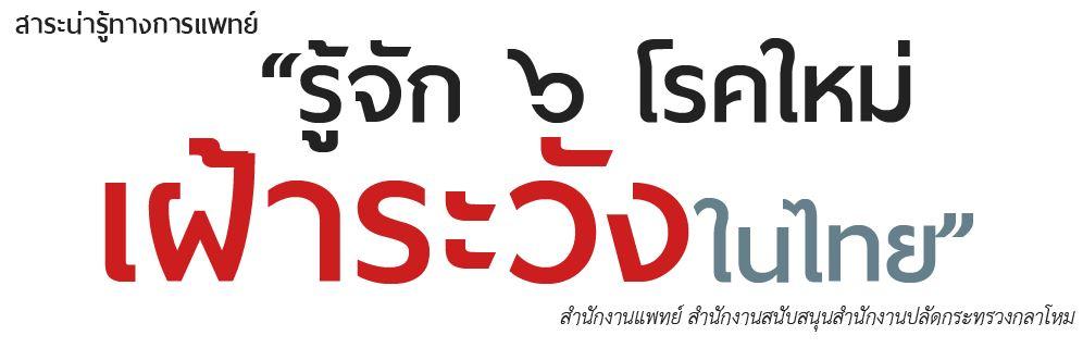 """""""รู้จัก 6 โรคใหม่ เฝ้าระวังในไทย"""""""